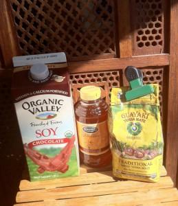 soymilk, yerba mate tea, and honey