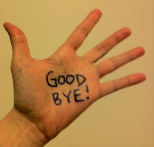 photo of open hand with good bye written on palm