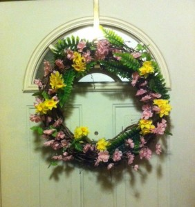 door wreath for spring, night view