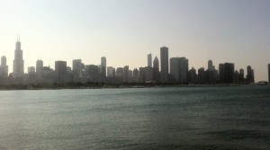 view of Chicago skyline and Lake Michigan taken by Adler