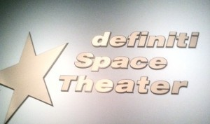 sign for the Definiti theater at the Adler Planetarium
