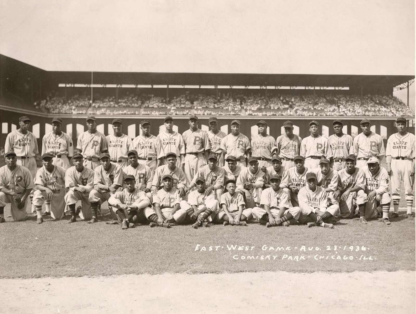 The 1936 Negro League All Stars at the old Comisky Park.