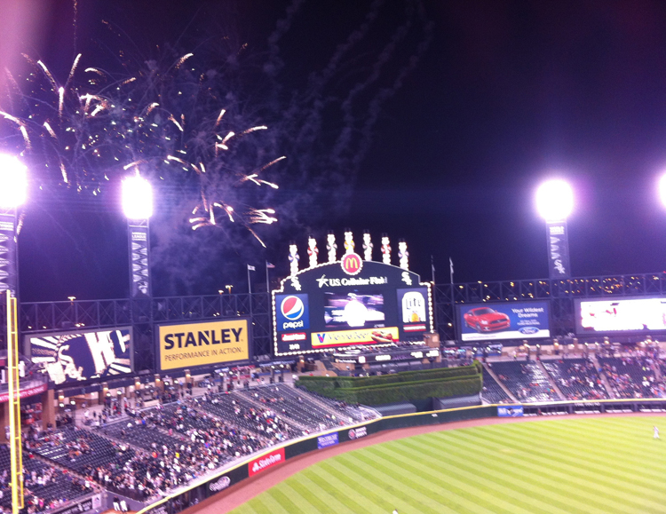 The scoreboard celebrating Jose Abreu's insurance home run.